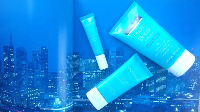 Neutrogena Hydro Boost exfoliator, city shield hydrating moisturiser & eye-awakening gel-cream