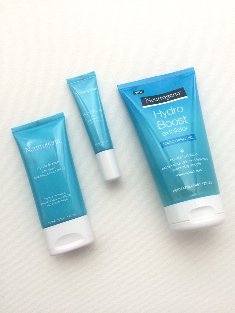 Neutrogena Hydro Boost Exfoliator, Eye-Awakening Gel-Cream & City Shield Hydrating Lotion SPF25