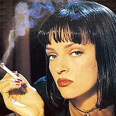 Uma Thurman in Pulp Fiction wearing Chanel Noir Rouge or Vamp nail polish