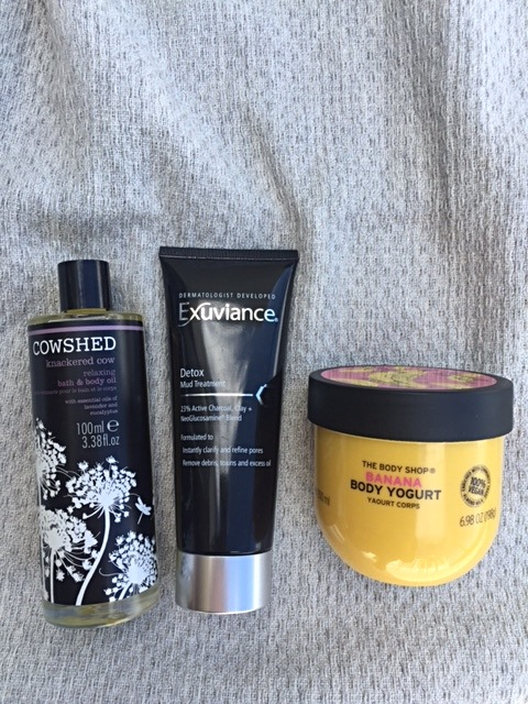 COWSHED, EXUVIANCE DETOX MUD TREATMENT AND THE BODY SHOP BANANA BODY YOGURT