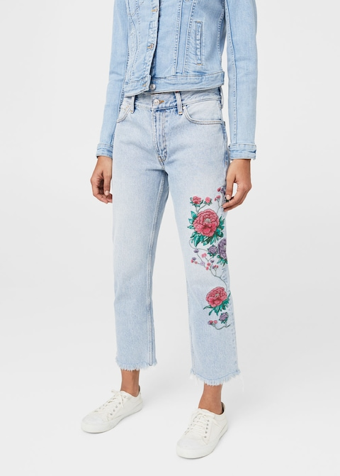 Embroidered jeans Dahlia MANGO