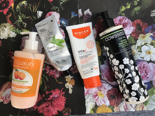 cowshed, mincer, woolworths and morgan taylor hand creams