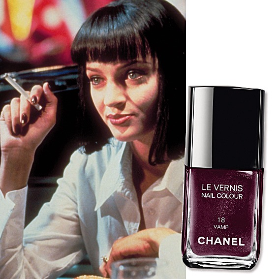 Uma Thurman in Pulp Fiction wearing Chanel Noir /Vamp Nail Polish