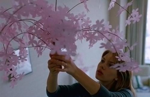 Scarlett Johannesen in Lost in Translation - hanging a saskura mobile in her hotel room