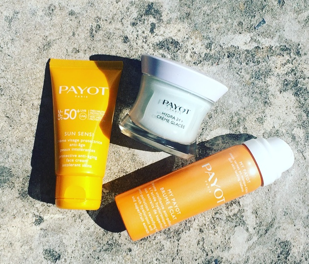 payot sun sensi spf50, my payot brume eclat and hydra 24+ cfreme glacee