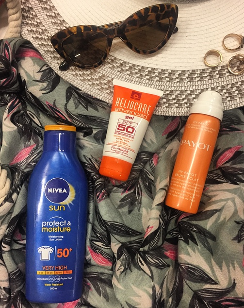 A SUN Protect & Moisture Sun LotionSPF50, My Payot Brume Eclat revivifying mist; HelioCare Advance Gel SPF50 :